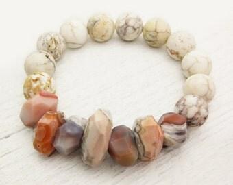 Peach Botswana Agate Bead Bracelet With Magnesite (White Turquoise) / storm cloud grey, cream, orange, white / bohemian beach style