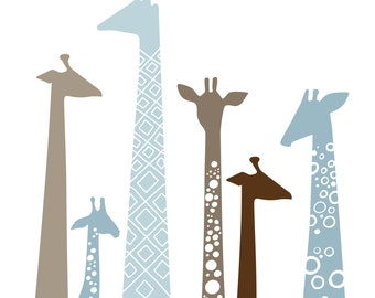 "modern giraffes 8X10"" giclée print on fine art paper. dusty blue & taupe brown."