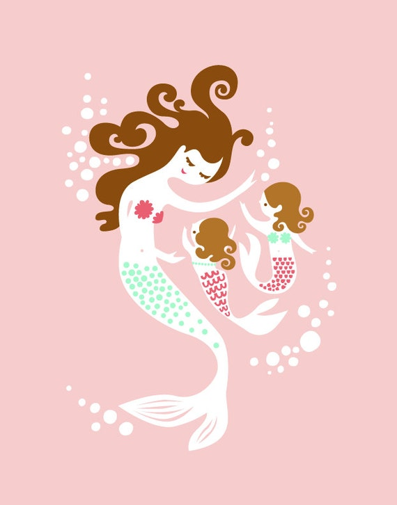 """5X7"""" mermaid mother & twin girl/daughters giclee print on fine art paper. pink, mint, brunette."""