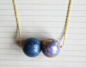 Galaxy Necklace - The Magellanic Cloud in gold, silver and midnight blue
