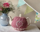 Pink button Heart Knitted Tea Cosy - Fits a 4 cup pot, Mother's Day, Birthday, Tea Lovers