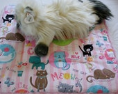 Cat Mat-Pink and White Stripe Print Cute Cats Cotton and Silky Fur Catnap Mat