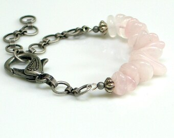 Pink Rose Quartz and Chain Bracelet, Natural Stone Pink and Gray Cuff, Nature Fashion, Stacking Bracelet, WillOaks Studio original