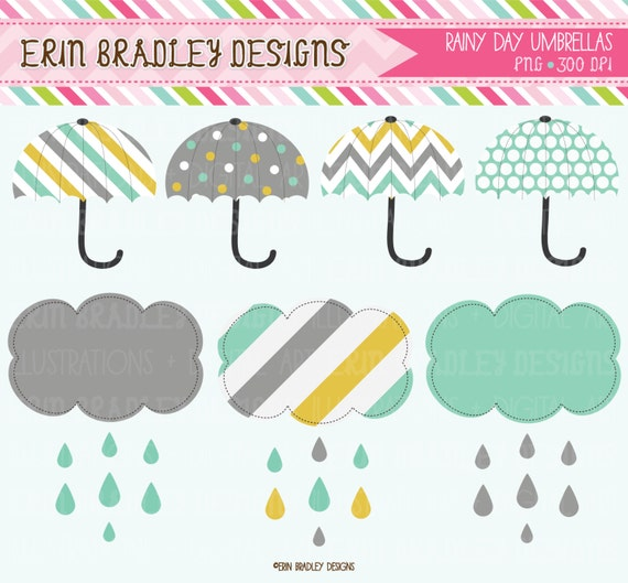 Rainy Day Clipart Umbrellas and Shower Cloud by ...