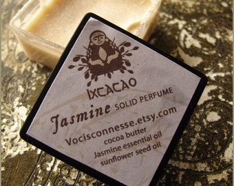 1 Vegan solid perfumes - Jasmine - Ixcacao serie made of cocoa butter and essential oils - vegan friendly