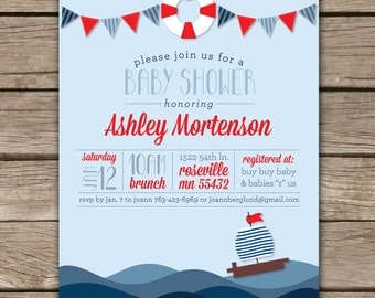 Nautical Shower II - Custom Digital Baby Shower Invitation Printable