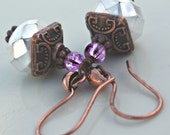 """Earrings """"Arnsia"""" White Alabaster 12x9mm Glass Rondelle Earring with Copper Findings"""