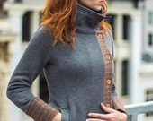 Urban Knit Jacket - Gray knit with autumn plaid wool trim, two tone asymmetrical womens jacket