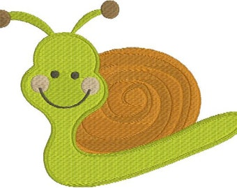 Cute Kids Snail Machine Embroidery Designs 4x4 & 5x7 Instant Download Sale