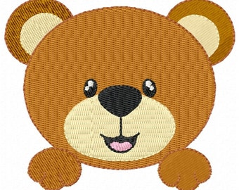 Cute Bear Face Machine Embroidery Designs 4x4 & 5x7 Instant Download Sale