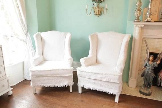 Items Similar To Shabby Chic Wingback Chair S Vintage