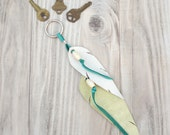 Leather Feather Key Ring or Purse Charm - White, Lime and Turquoise