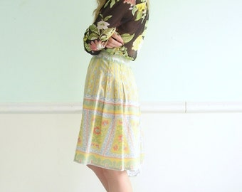 VALENTINO Yellow Floral Silk Printed High Waist Mini Skirt - Vintage 70s - SMALL S 4 6