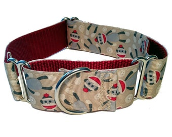 "1.5"" Sock Monkey Dog Collar Buckle or Martingale"
