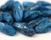 10 Vintage Glass Oval Wave Blue Beads  ( 18x6 mm ) cv26