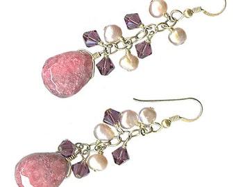 rhodonite chunky briolette mauve pearl purple Swarovski crystal earrings