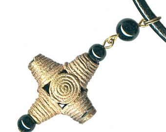 unisex mens leather necklace African Ghana large brass wire cross gemstone