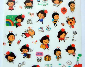 Cute Honey Bee & Girl Plastic Stickers From Korea - Exercise, Studying, Desk, Reading Book, Eating Meatballs, Emotions, Drawer, Camera