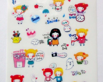 Cute Pippi Princess Girl Plastic Stickers From Korea - Tulip Flower, Snow White, Emotions, Emoticons, Winter Coat, Cat, Couple, Family, Book