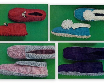Slipper Pattern For Children Women & Men - Instant Download - Easy Knitting Instructions - PDF 303