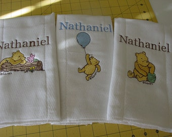 Classic Pooh personalized burp cloths