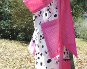 WOMENS HALF APRON handmade cotton pink white black cow