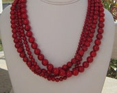 Chunky Necklace Red Statement Multistrand,  Four Alarm Necklace