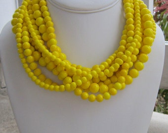 Chunky Yellow Necklace, Statement Necklace, Gifts for her, Bold necklace, Bright Yellow Jewelry, Extra Chunky Ducky