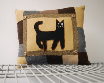 Wool Cat Pillow Eco Friendly Primitive Black Kitty  Upcycled Wool Accent Halloween Home Decor
