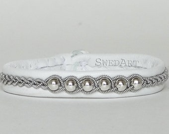 SwedArt B120 Borealis Lapland Sami Bracelet with Sterling Silver Beads and Pewter Button, White, X-SMALL