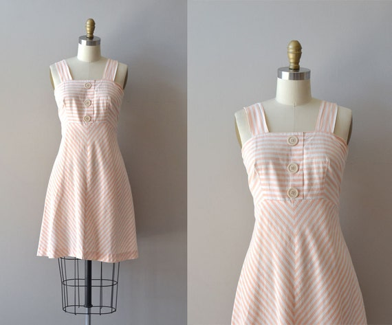 vintage 70s dress / 70s cotton dress / Grapefruit Stripe dress