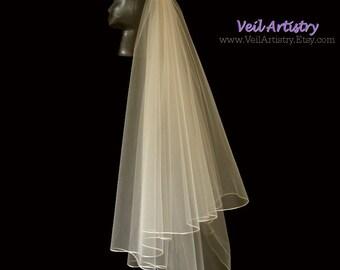 Short Wedding Veil, Radiance Veil, 2 Tier Bridal Veil, Satin Cord Edge Veil, Fingertip Veil, Cording Veil, Handmade Veil