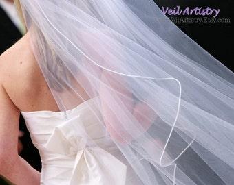 Bridal Veil, Cascade Wedding Veil, Single Tier Veil, Satin Cord Edge Veil, Satin Cord Trim, Made-to-Order Veil, Custom Veil