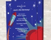 PRINT & SHIP Space Rocket Astronaut Birthday Party Invitations (set of 12)