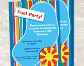 Pool / Swim Birthday Party Invitations (set of 12) PRINT & SHIP
