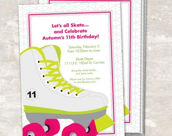 PRINT & SHIP Neon Roller Skate Birthday Party Invitations (set of 12) >> personalized and shipped to you | Paper and Cake