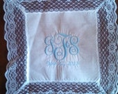 Something Blue Bride's Handkerchief. Personalized with Bride's New Monogram and wedding date.
