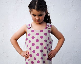 The Maisie Organic Girls Dress - Orchid Purple Polka Dots Stretch Knit Pinafore - Eco Friendly Summer Kids Fashion (Limited Edition)