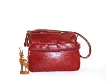 Vintage Tote Red Crimson Carry All
