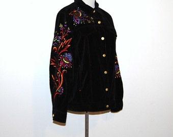 Vintage Jacket  Flower and Pop Art on Black