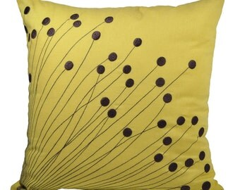 Pillow Cover, Decorative Pillow, Throw Pillow, Couch Pillow, Yellow Linen Pillow Dark Brown Flower Embroidery, Pillow Accent, Modern Pillow