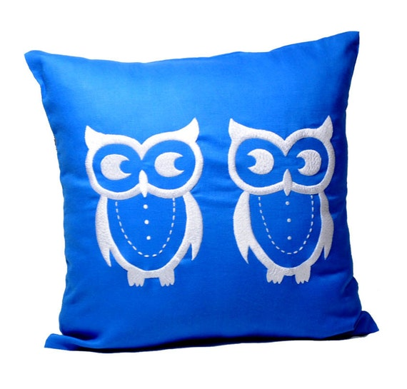 Owl Throw Pillow Covers : Items similar to Owls Throw Pillow Covers, Bird Decorative Pillow, Owl Couch Pillow, Blue Linen ...