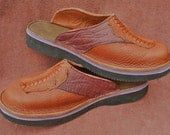Handmade Custom Leather Clogs - tobacco brown, deer tanned bull Hide, Emu toe. ostrich shin, Custom Made