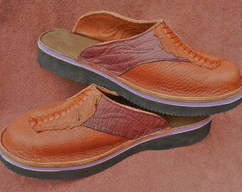 Handmade Leather Clogs - tobacco brown, deer tanned bull Hide, Emu toe. ostrich shin, Custom Made