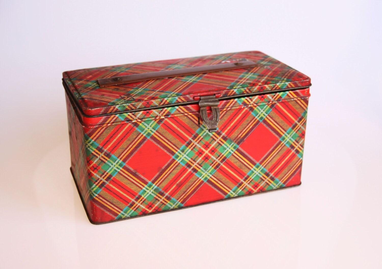 antique scottish tartan tin box rustic home decor