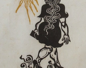 Woman, black and white linoleum block print, a proof, printed and signed by the artist