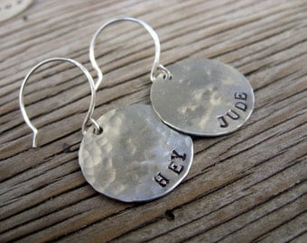 Custom hand stamped charm earrings 3/4 inch sterling silver with hand forged earwires pick your words or symbol