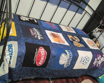 Custom Twin Size Tshirt Memory Quilt made with15 of  your own T shirts