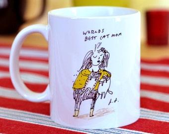 Cat Mug- World's Best Cat Mom- Crazy Cat Lady Gift- Cat Gift
