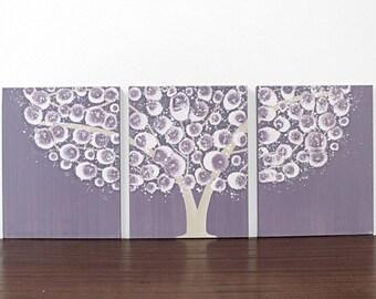 Baby Girl Nursery Art - Purple Tree Wall Art - Original Acrylic Painting on Triptych Canvas - Medium 35x14